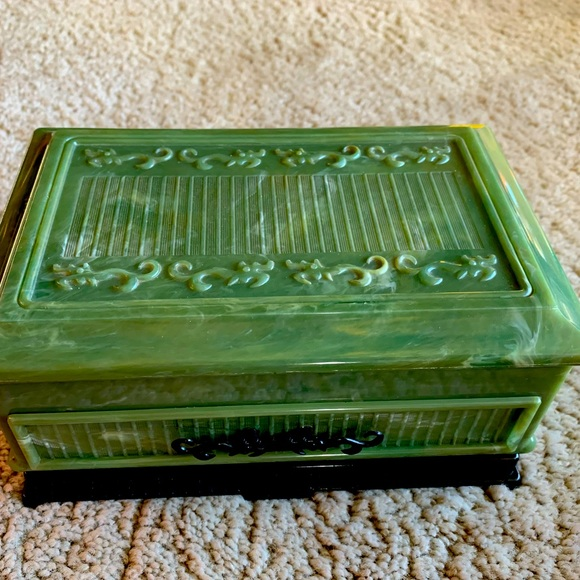 Vintage Green Celluloid Jewelry Box